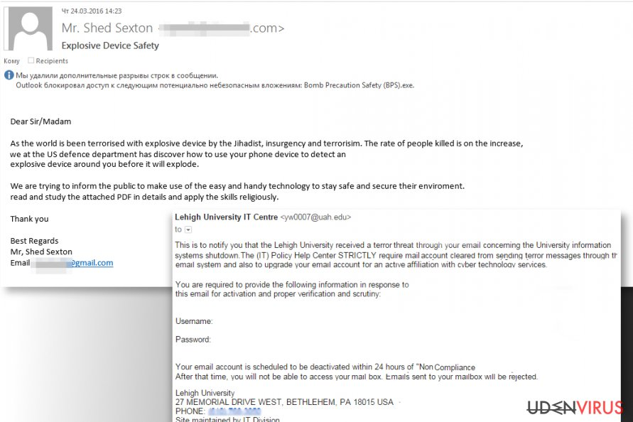 Terrorism-based phishing emails