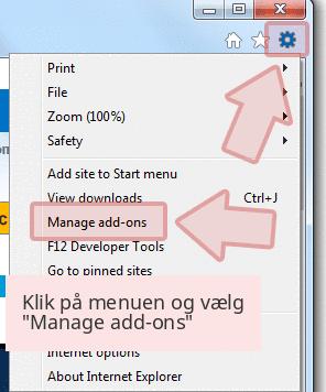 Klik på menuen og vælg 'Manage add-ons'