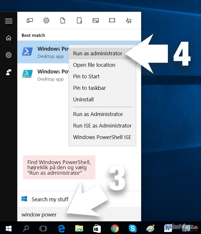 Find Windows PowerShell, højreklik på den og vælg 'Run as administrator'