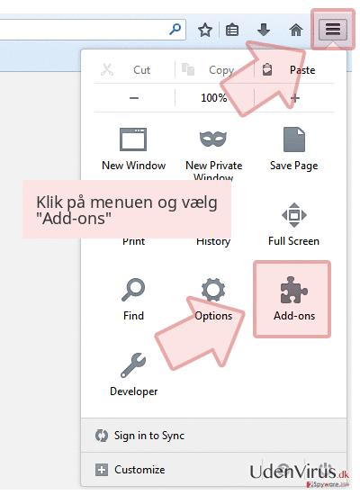 Klik på menuen og vælg 'Add-ons'