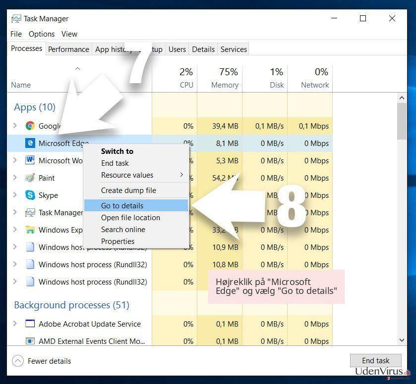Højreklik på 'Microsoft Edge' og vælg 'Go to details'