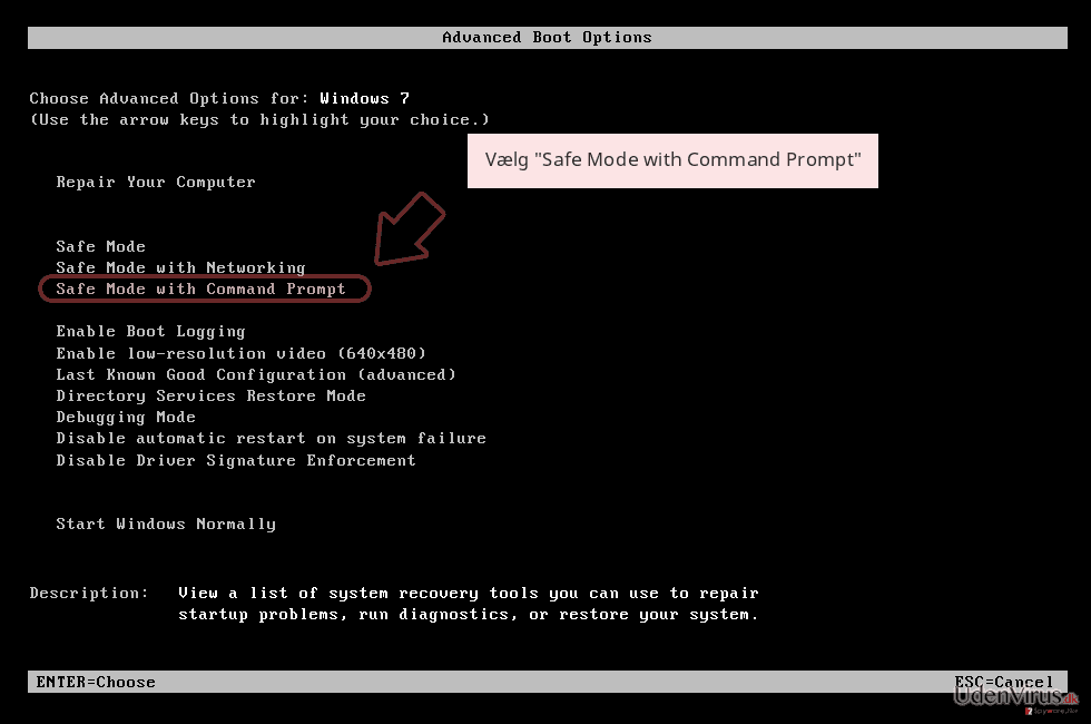 Vælg 'Safe Mode with Command Prompt'