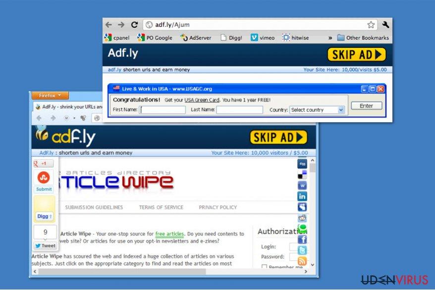 Adf.ly virus snapshot