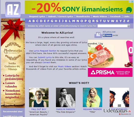 Annoncer fra AZLyrics snapshot