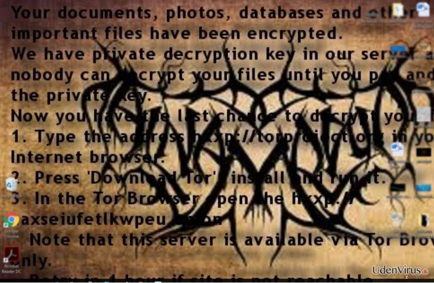 Al-Namrood ransomware løsesumsnote