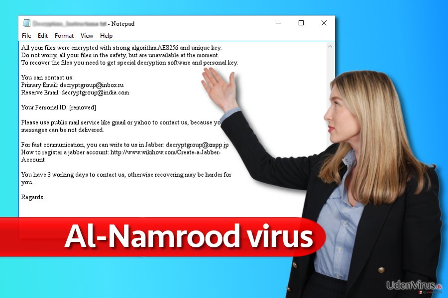 Note fra Al-Namrood ransomware virus