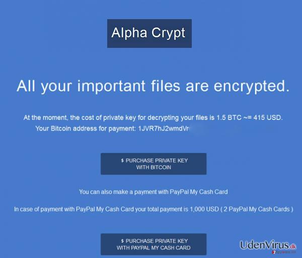 Alpha Crypt virus snapshot