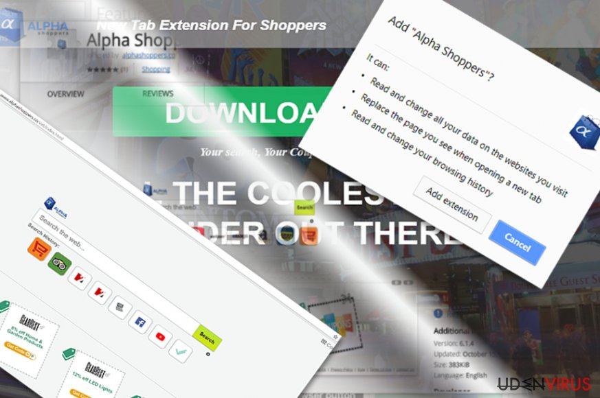 The image displaying AlphaShoppers extension and main page