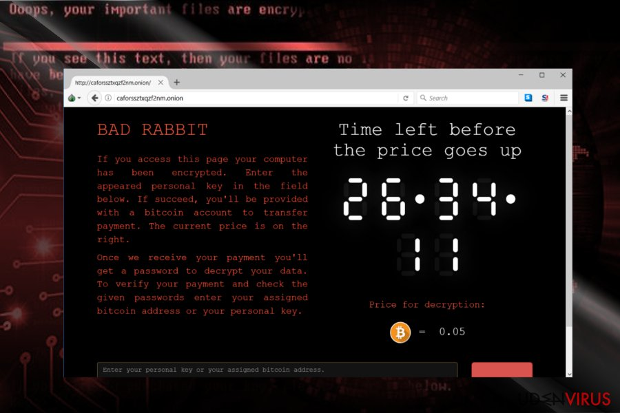The screenshot of BadRabbit payment site