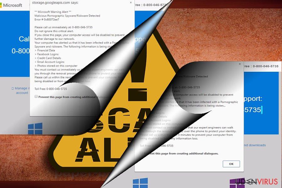 Skærmbilledet af Error 0x80072ee7 svindelnummeret