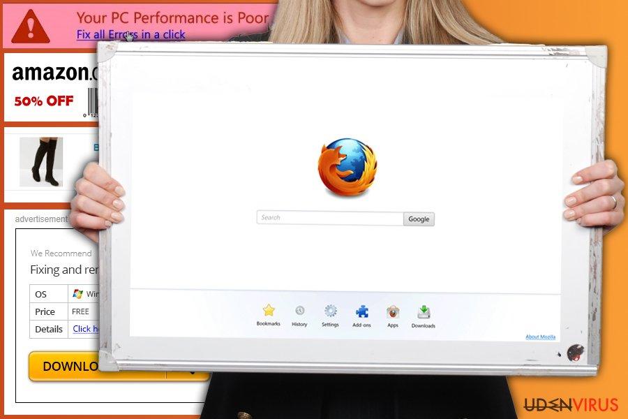 Firefox omdirigeringsvirus snapshot