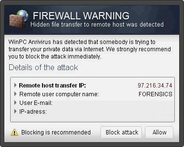 """Firewall Warning"" Pop op snapshot"