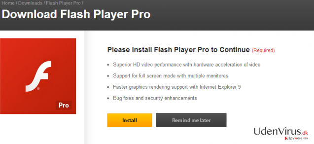 Flash Player Pro virus snapshot