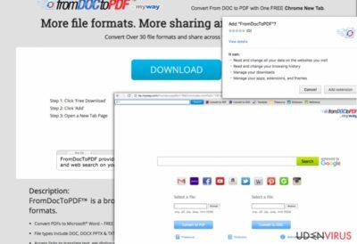 Skærmbillede af From Doc to PDF Værktøjslinje