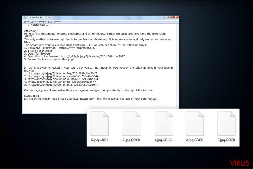 Løsesumsnote af GandCrab ransomware