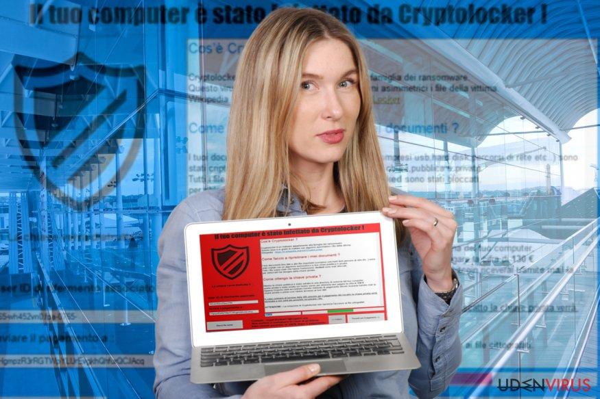 Il tuo computer e stato infettato da Cryptolocker! Ransomware virus snapshot