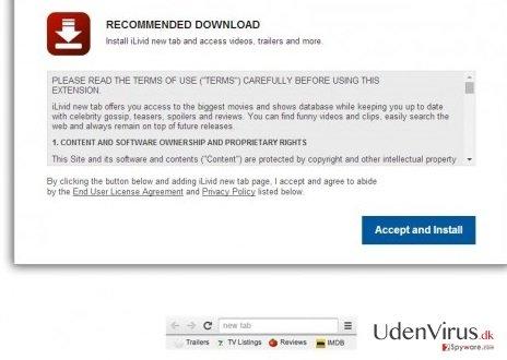 iLivid New Tab hijacker snapshot