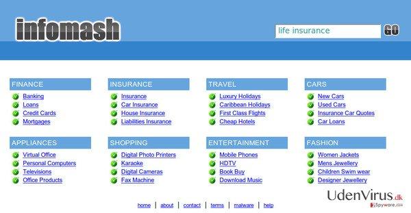 InfoMash omdirigering snapshot