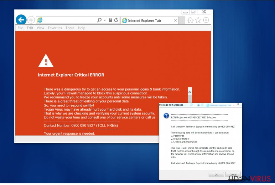 """Internet Explorer Critical ERROR"" virus"