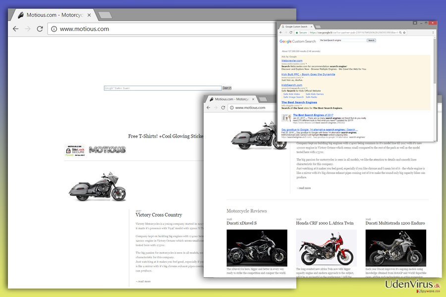 Billedet af Motious.com virus