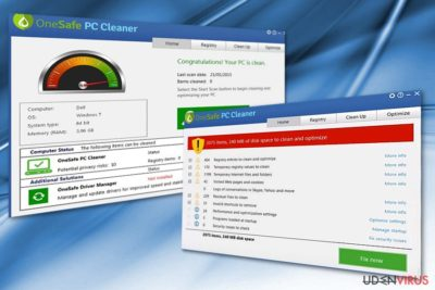 Billedet viser OneSafe PC Cleaner-programmet