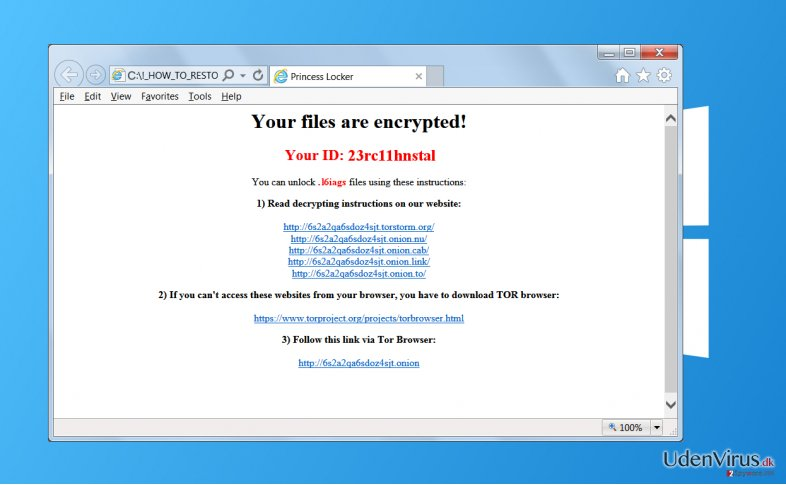 Princess Locker ransomware virus snapshot