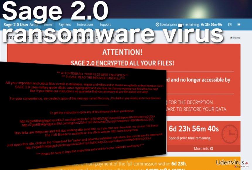 Sage 2.0 ransomware virus snapshot