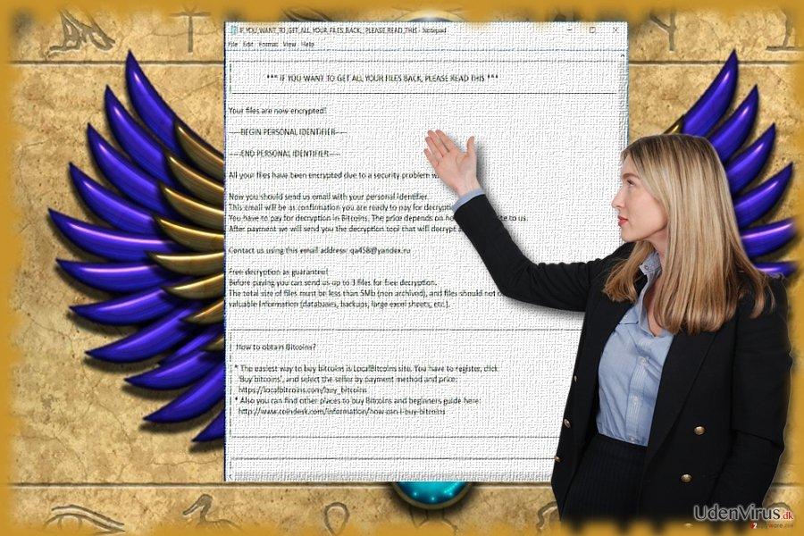 Billedet viser Scarab malware tekstfil.