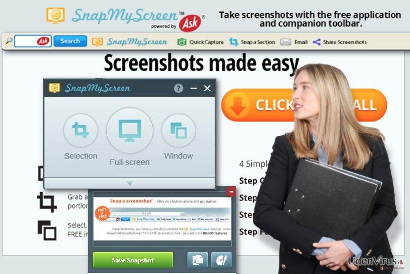 SnapMyScreen værktøjslinje snapshot