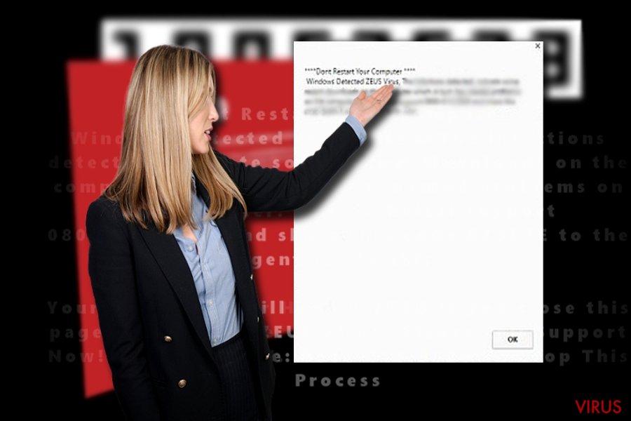 """Skærmbilledet af """"Windows Detected ZEUS virus"""""""