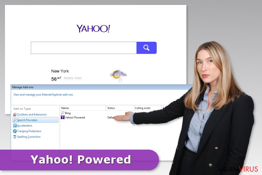 Eksempel på Yahoo Powered hijack