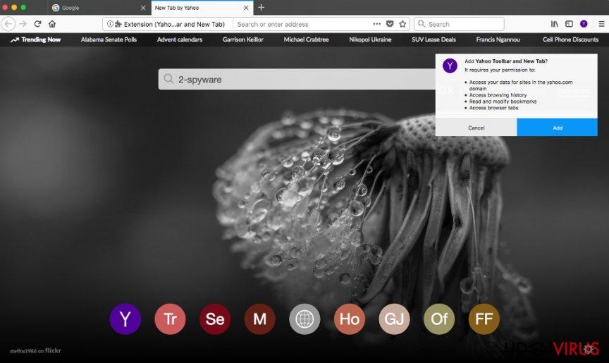 Yahoo værktøjslinje på Firefox webbrowser