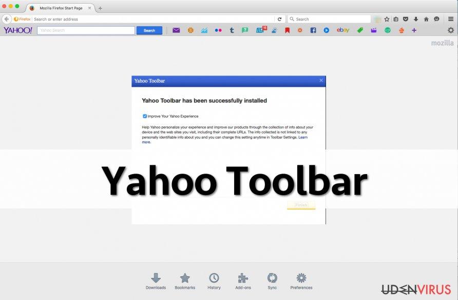 Skærmbillede af Yahoo værktøjslinje