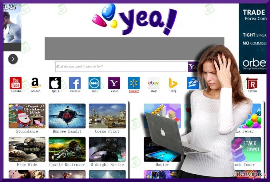 Billedet af YeaDesktop.com hijacker