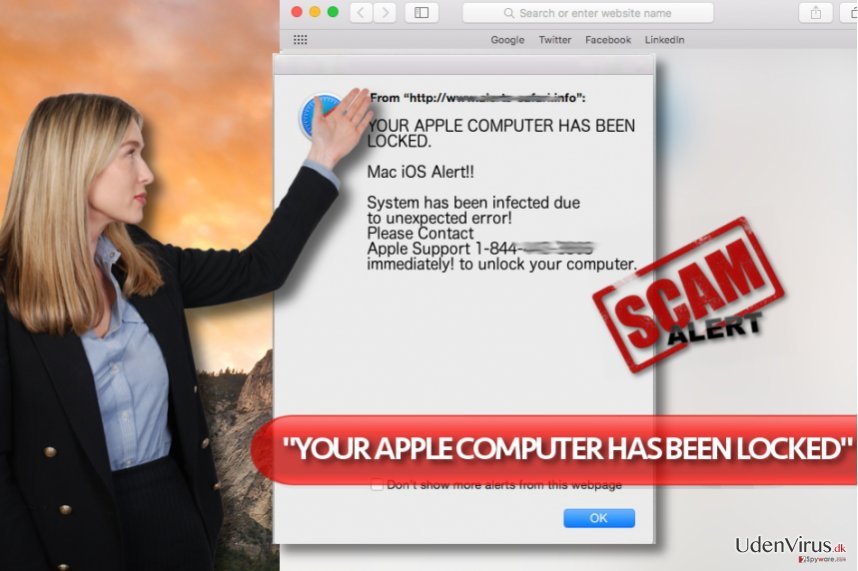 """YOUR APPLE COMPUTER HAS BEEN LOCKED"" Tech Support Scam-virus"
