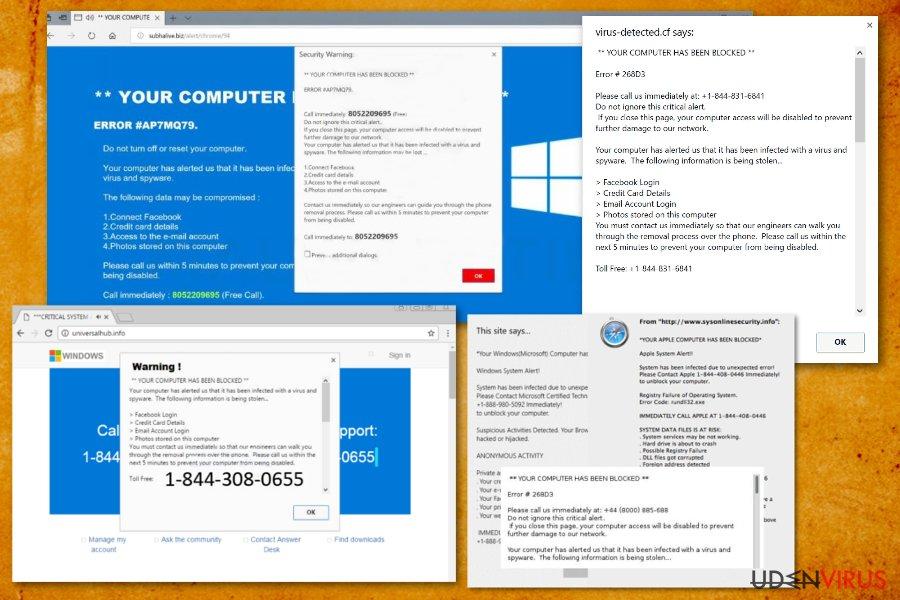 """Din computer er blevet blokeret"" virus snapshot"