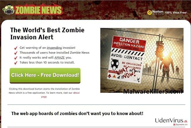 Zombie News adware snapshot